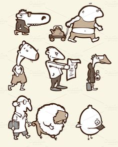 Set of a Funny Creatures #2 by LEKS illustrations on Creative Market