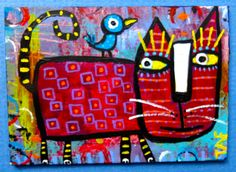 """""""Bird On My Back"""" ACEO mini painting.  Art by Tracey Ann Finley #outsiderart"""