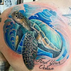 101 Amazing Ocean Tattoo Ideas That Will Blow Your Mind! | Outsons | Men's Fashion Tips And Style Guide For 2020 Small Wave Tattoo, Ocean Wave Tattoo, Ocean Tattoos, Shark Tattoos, Turtle Tattoos, Turtle Tattoo Designs, Mermaid Tattoo Designs, Mermaid Tattoos, Back Tattoo Women
