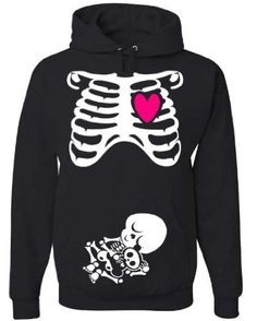 Amazon.com: Halloween NON Maternity Pullover Hoodie Costume - Pregnant Skeleton X-Ray - Rib Cage and Baby - Funny Baby Shower Gift (Medium): Clothing
