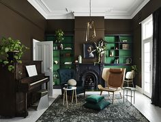 Earthy greens in all their glory in new Dulux colour forecast - The Interiors Addict Dark Interiors, Colorful Interiors, Living Room Inspiration, Interior Inspiration, Home And Deco, Elle Decor, Style At Home, Home Fashion, House Colors
