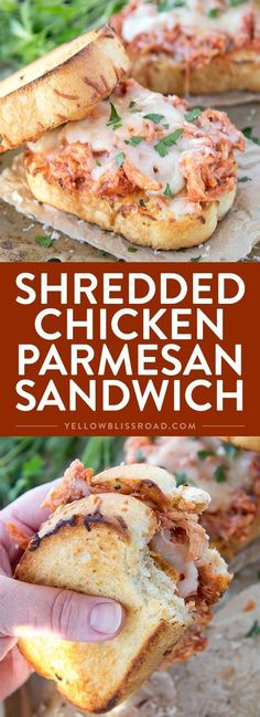 Shredded Chicken Parmesan Sandwich - Incredibly delicious and easy dinner recipe that's ready in under 15 minutes!