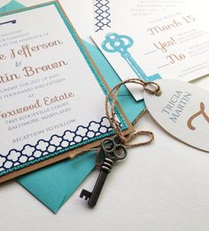 Skeleton Key Wedding Invitations by FoxOnTheMoonLLC on Etsy Click to see them in my store! These skeleton key invitations have a bold turquoise and navy blue design, with a matching layer of turquoise burlap for a rustic touch.