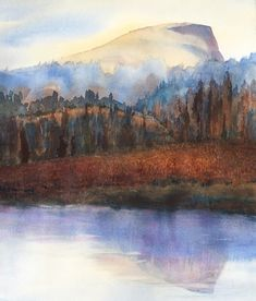 Autumn Hike by Lembert Dome, Yosemite | allisonspreadborough Watercolor Landscape, Abstract Landscape, Tuolumne Meadows, Campsite, Art Ideas, Landscapes, Hiking, The Incredibles, Autumn