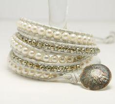 SALE 10 OFF  Fresh water pearl  bracelet with by kalypsosilver, $65.00
