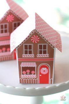 Printable Gingerbread House Treat Box
