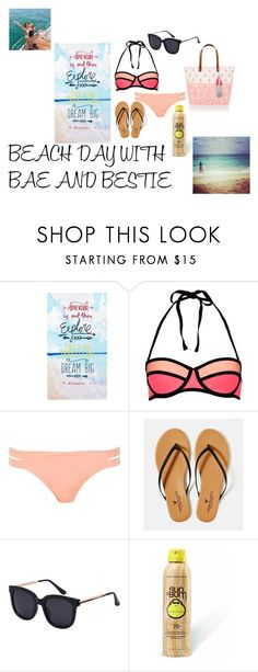 """~BEACH DAY WITH BAE AND BESTIE~"" by sammmshall on Polyvore featuring Ben de Lisi, New Look, River Island, American Eagle Outfitters, Sun Bum and Accessorize"
