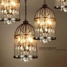 Vintage Vogelkäfig Kronleuchter Kristall Lampe