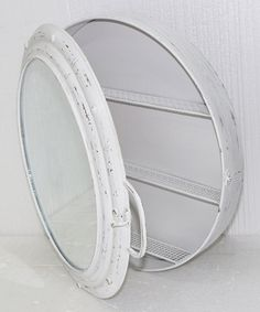 Look at this White Metal Porthole Mirror Cabinet on #zulily today!
