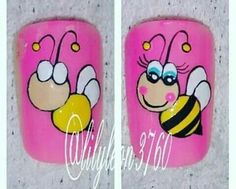 Unas paso a paso Natural Nail Designs, Diy Nail Designs, Nail Art For Kids, Animal Nail Art, Painted Nail Art, Feet Nails, Toe Nail Art, Nail Tutorials, Simple Nails