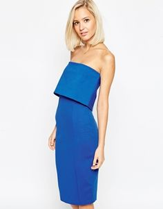 Lavish Alice Bandeau Body-Conscious Midi Dress with Cropped Detail