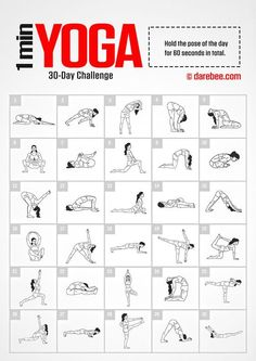 Yoga Challenge by DAREBEE Amazing Website, would be great to compile a workout folder to pull from & write on the board in the gym Fitness Herausforderungen, Fitness Workouts, Fitness Quotes, Planet Fitness, Health Fitness, Darbee Workout, Circuit Fitness, Elite Fitness, Easy Fitness