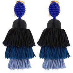 Oscar De La Renta Women Long Silk Tassel Earrings (41,185 INR) ❤ liked on Polyvore featuring jewelry, earrings, blue, silk tassel earrings, blue tassel earrings, layered jewelry, oscar de la renta and tassle earrings