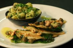 Pan fried plaice, brown shrimp and caper butter, crushed potato and sprout tops