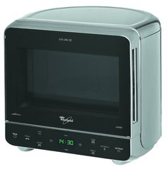 Whirlpool MAX 38 SL Corner Microwave oven with grill in Silver with Curved Back.