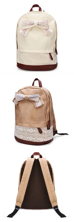 Backpack For School Women 8217 S Pu Leather Schoolbag Lace Bow Sweet