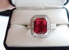 Vintage Style Sterling Silver Emerald Cut Genuine Red Ruby White Zircon Ring #Designer