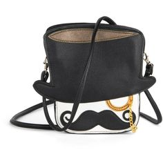 Can't Stay, Mustache! Bag (295 SEK) ❤ liked on Polyvore featuring bags, handbags, shoulder bags, purses, modcloth, cross-body handbag, vegan oxford, crossbody purse, man bag and faux leather crossbody