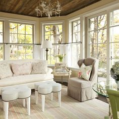 Family Room country cottage shabby chic style small Design Ideas, Pictures, Remodel and Decor