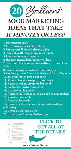 Mixtus Media — 20 Book Marketing Ideas That Take 10 Minutes Or Less – Paid Social Media Jobs Marketing Plan, Online Marketing, Marketing Strategies, Mobile Marketing, Business Marketing, Digital Marketing, Marketing Books, Inbound Marketing, Content Marketing