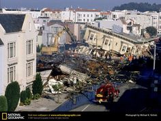A San Francisco Bay area earthquake measuring in magnitude, killed 67 and injured over Over buildings damaged or destroyed. This earthquake hit the bay area during the world series in which lost power during the game. Earthquake Damage, Earthquake And Tsunami, San Francisco California, San Francisco Bay, San Andreas Fault, San Francisco Earthquake, Natural Disasters, Northern California, Historical Photos