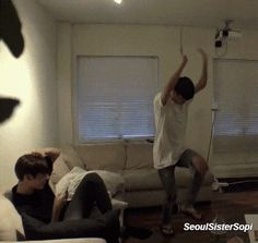 Jimin's stupid dancing makes Jungkook laugh.