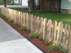 Pallet picket fence. For the front yard to deter the d*!# dogs without completely blocking view