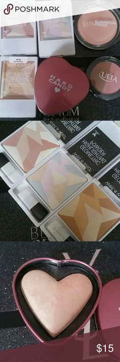 Highlighter, Blush, & Bronzer  Bundle Wet n Wild geometric highlighting powders: desert explorations (swatched only), where the dreamers go (used a few times), sun ceremony (swatched only) Ltd  Hard Candy highlighter duo Ltd (swatched only) Ulta illuminating powder in Pink Diamond (used a few times) Ulta blush/bronzer duo in splendor  (swatched only ltd)   All have been sanitized with alcohol wet n wild Makeup Luminizer