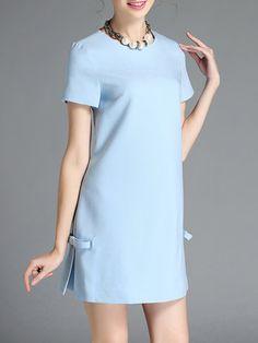Blue Short Sleeve Crew Neck Mini Dress