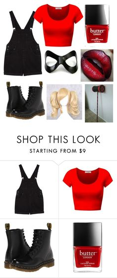 """Original Harley Quinn DIY Costume♡♡"" by kinseyc ❤ liked on Polyvore featuring Monki and Dr. Martens"