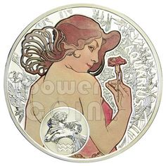 AQUARIUS Horoscope Zodiac Mucha Silver Coin 1$ Niue Island 2011