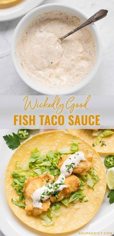 Wickedly good fish taco sauce - the best fish taco sauce for your tacos! - Wickedly good fish taco sauce – the best fish taco sauce for your tacos! Wonderfully spiced, and - Fish Dishes, Seafood Dishes, Seafood Recipes, Mexican Food Recipes, Cooking Recipes, Healthy Recipes, Healthy Soup, Fish Taco Recipes, Taco Sauce Recipes