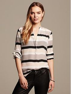 Striped Silk Popover Blouse. Black pants. Black heels.