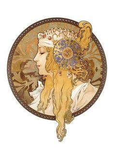 Giclee Print: Round Portrait Wall Art by Alphonse Mucha by Alphonse Mucha : 60x44in