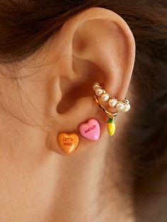 Ear Jewelry, Cute Jewelry, Jewelry Box, Jewelry Accessories, Jewlery, Trendy Accessories, Bijou Brigitte, Accesorios Casual, Heart Earrings