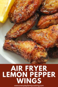 Lemon Pepper Wings in the air fryer are crispy with a sweet and spicy flavor that's savory and fun. Air Fryer Recipes Vegan, Air Fryer Dinner Recipes, Air Fryer Healthy, Tapas Recipes, Appetizer Recipes, Recipies, Appetizers, Air Fryer Cooking Times, Lemon Pepper Wings