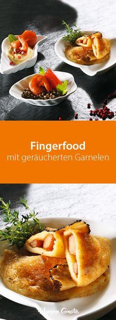 Fingerfood mit geräucherten Garnelen