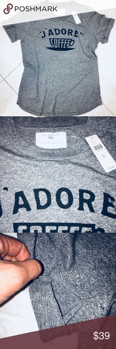 New w/ Tags! Anthropologie Sol Angeles tee! Med Price fixed. Never ever worn or washed! Ordered a small and a medium and the small fit true to size. Kept it and love it! Grab. While you can. Sooo soft and cute! Who doesn't love coffee?!?! Anthropologie Tops Tees - Short Sleeve