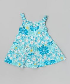 Loving this Turquoise Flower Bouquet Tiered Dress - Infant on #zulily! #zulilyfinds