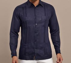 Guayabera Linen, Long Sleeve. Casual Suit, Men Casual, Guayabera Wedding, Ropa Semi Formal, Guayabera Shirt, Recycled Dress, Custom Made Clothing, Outfits Hombre, African Men Fashion