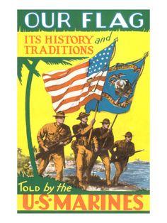 USMC Color Guard Premium Poster