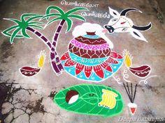 Freehand style kolam on mattu pongal done by deepa natarajan Best Rangoli Design, Rangoli Border Designs, Small Rangoli Design, Rangoli Designs With Dots, Beautiful Rangoli Designs, Kolam Designs, Mehndi Designs, Rangoli Borders, Kolam Rangoli