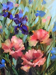 Pink Poppies and Purple Iris by Nancy Medina Oil ~ 16 x 12