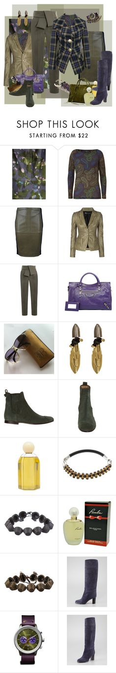 """Olive & Violet"" by halebugg ❤ liked on Polyvore featuring J.Crew, Etro, Balenciaga, Roberto Cavalli, Vivienne Westwood Anglomania, Christian Louboutin, Triwa, leather skirt, plaid jacket and balenciaga"