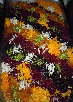 مرسع پلو Persian Food Sweet Rice Iranian Dishes, Iranian Cuisine, Afghan Food Recipes, Persian Rice, Iran Food, Turkish Recipes, Persian Recipes, Persian Culture, Recipes