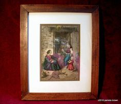 Antique 1800's Hand Colored Wood Engraving Rural French Family Oak Framed Vintage Art Print Farmhouse Kitchen Decor by LionheartSalvage on Etsy