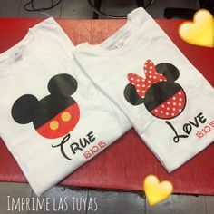¡Qué tiernas estas playeras de Minnie y Mickey Mouse!  Ven a imprimir las tuyas! Qué esperas?❤ #Litek #ExpertosEnImpresión #PiensaRojo