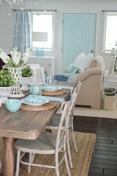 An eclectic blend of cottage farmhouse style,with vintage finds and junque store favorites. Summer Farm Table Decorating Ideas with Coastal Touches. way table decor farmhouse style Summer Farm Table Decorating Ideas Beach Cottage Style, Beach Cottage Decor, Coastal Cottage, Coastal Decor, Rustic Beach Decor, Coastal Style, Small Farmhouse Table, Farmhouse Decor, Cottage Farmhouse