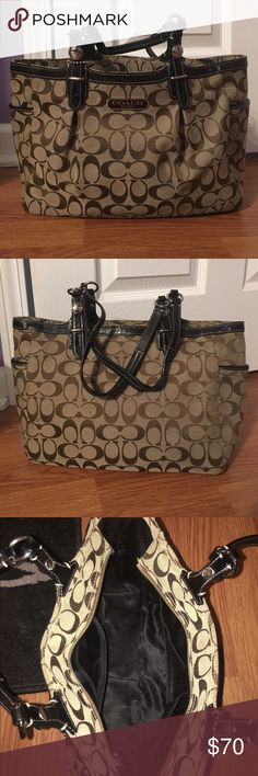 "Coach Purse Coach purse. Brown with signature design. Little over 14"" wide and 8"" high. Minimal use marks. Great condition! Coach Bags Shoulder Bags"