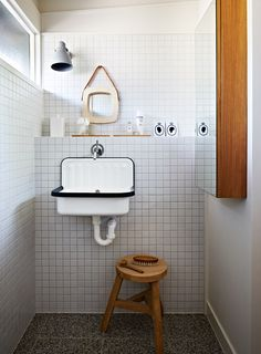 Lately we've been noticing the humble Alape bucket sink in washrooms everywhere (we first spotted it at Labour and Wait, in London). Here's a roundup of spaces, plus a source for the sink. Bad Inspiration, Bathroom Inspiration, Bathroom Storage, Small Bathroom, Minimal Bathroom, Bathroom Sinks, Bathroom Vintage, Small Sink, Small Tiles